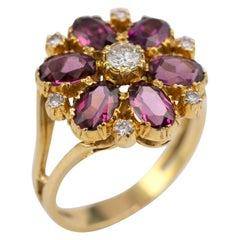 2 Carat Rhodolite Garnet Diamond Flower Cluster Ring 18 Karat Gold