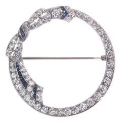 2.30 Carat Diamond Sapphire 14 Karat White Gold Bow Open Circle Art Deco Brooch