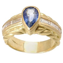 Judith Ripka Sapphire Diamond Yellow Gold Ring