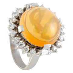 Diamond and Round Fire Opal Platinum Ring