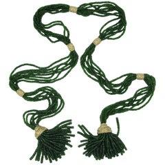 Green Sapphire 14 Karat Gold Tassel Necklace Long Lariat