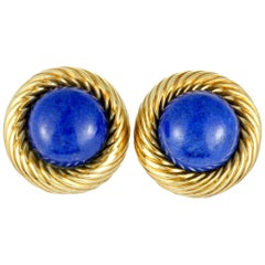 Tiffany & Co. Lapis Yellow Gold Round Clip-On Earrings