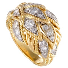 Van Cleef & Arpels Vintage Diamond Gold Bombe Ring