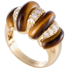 Van Cleef & Arpels Diamond and Tiger's Eye Stones Yellow Gold Bombe Ring
