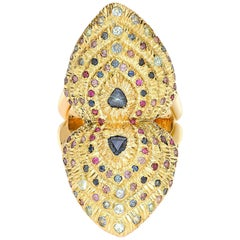 Venyx 18 Karat Gold Sapphire Ruby and Colored Stone Bear Paw Heart Ring