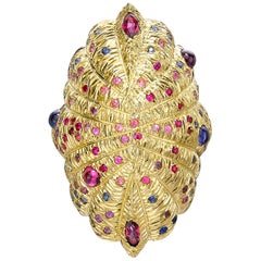 Venyx 18 Karat Yellow Gold Blue Sapphire Ruby and Colored Stone Statement Ring