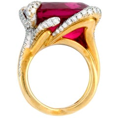 25.50 Carat Pink Tourmaline Diamond 18 Karat CLAWS Ring by John Landrum Bryant