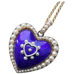 Heart Shaped Pearl and Blue Enamel Victorian Locket