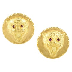 Van Cleef & Arpels Ruby Yellow Gold Wildcat Cufflinks