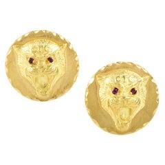 Van Cleef & Arpels Ruby Yellow Gold Wildcat Cufflinks