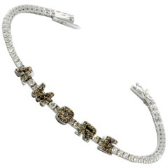 Orianne Collins Amore White Gold Chocolate and White Diamond Tennis Bracelet
