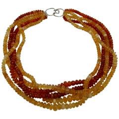 Andrew Clunn Fire Opal Torsade Necklace 14 Karat Gold Five-Strand