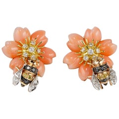 Spectacular Large Coral Flower Earrings with Bee Diamond Sapphire