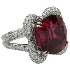 26.02 Carat Rubelite White Diamond Platinum PILLOW Ring by John Landrum Bryant