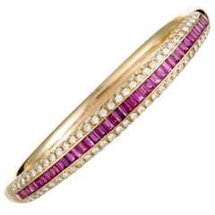 Damiani Diamond Pave and Ruby Baguettes Yellow Gold Bangle Bracelet
