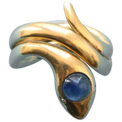 Large Gold and Sapphire Snake Ring