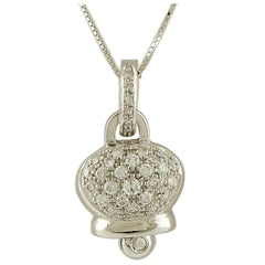 0.74 Carat White Diamonds, 18 Karat White Gold Bell Shape Pendant Necklace