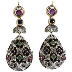 1.35 Carat Emerald Ruby Sapphire White Diamond Yellow Gold Lever-Back Earrings