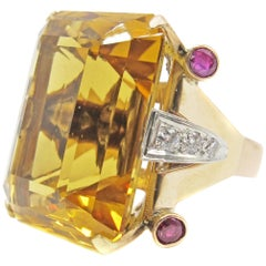Retro Rose Gold Citrine Ruby Diamond Ring