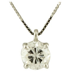 0.38 Carat White Diamond, 18 Karat White Gold Pendant Necklace