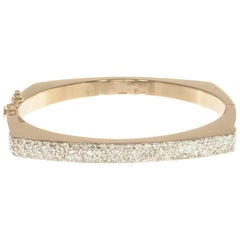 1.85 Carat Diamond Two-Tone Gold Bangle Bracelet