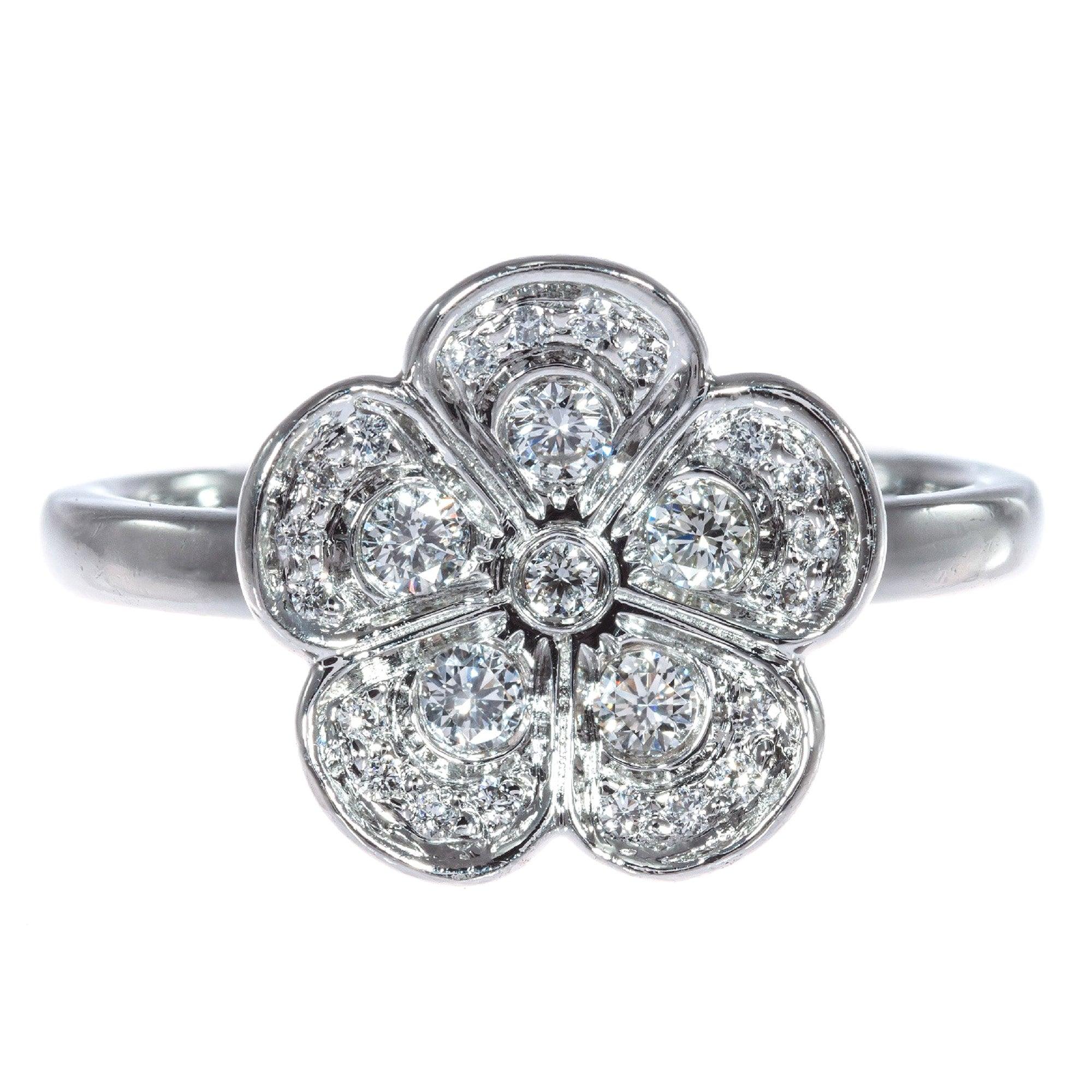 Tiffany & Co .30 Carat Diamond Platinum Flow Cocktail Ring
