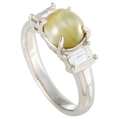 Diamond and Cat's Eye Cabochon Platinum Ring