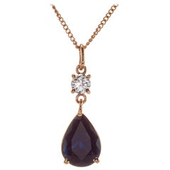 Peter Suchy GIA Certified 3.04 Carat Sapphire Diamond Gold Pendant Necklace