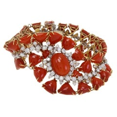 Triangle and Oval Shape Red Corals, White Diamonds,White and Rose Gold Bracelet