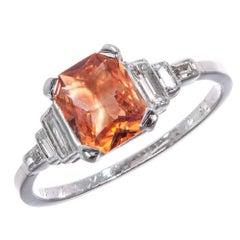 GIA Certified 1.26 Orange Sapphire Diamond Platinum Engagement Ring