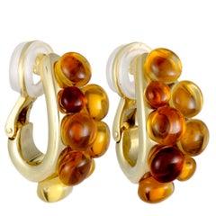 Pomellato Mora Citrine Cabochon Cluster Yellow Gold Huggie Clip-On Earrings