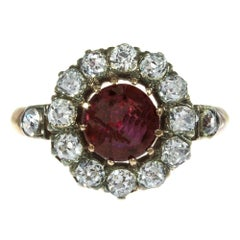 GIA Certified .95 Carat Ruby Diamond Halo Rose Gold Victorian Engagement Ring