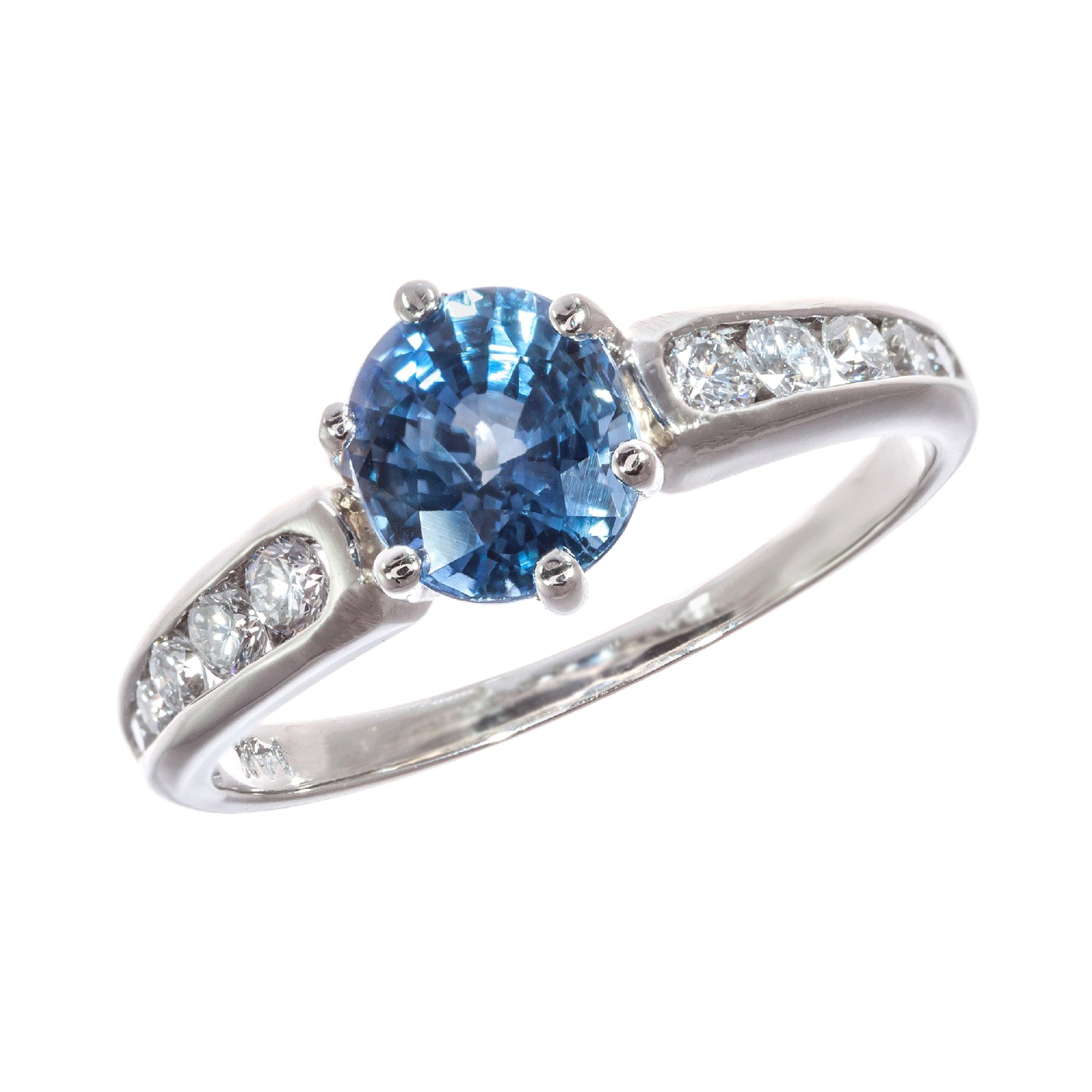 1.54 Carat Sapphire Diamond White Gold Solitaire Engagement Ring