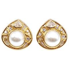 Marina B Diamond Pearl Teardrop 18 Karat Yellow Gold Ear Clips