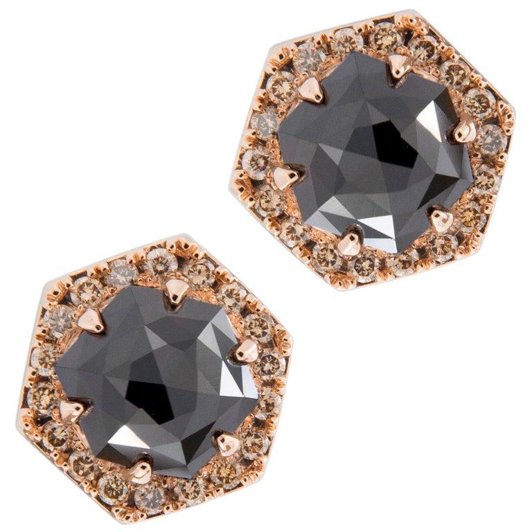 Jona Rose Cut Black Diamond Brown Diamond 18 Karat Rose Gold Stud Earrings For Sale