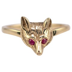 Ruby Fox Head Ring 9 Karat Yellow Gold