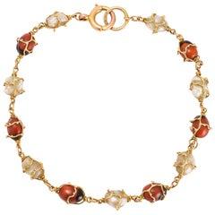 Art Nouveau Murrle Bennett Baroque Pearl Jequirity Bean Gold Bracelet