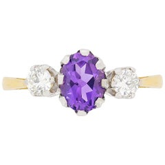Vintage Amethyst and Diamond Three-Stone Ring, circa 1950s