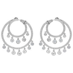 Open Work Round Diamond Chandelier Earrings