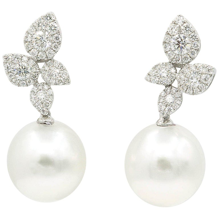 South Sea Pearl Diamond Cluster Leaf Earrings 1.05 CTS 18K For Sale