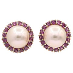 Rhodolite and Cultured Pearl Stud Earrings 3.82 Carats 18K