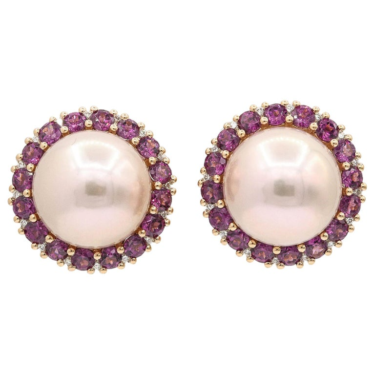 Rhodolite and Cultured Pearl Stud Earrings 3.82 Carats 18K For Sale