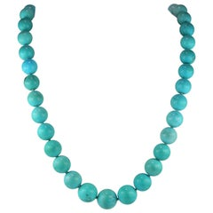 Spectacular 100% Natural Untreated Persian Turquoise Necklace Diamond Clasp 1950