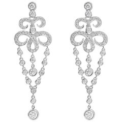Open-Work Diamond Fringe Dangle Earrings