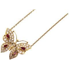 Ruby Diamond 18 Karat Yellow Gold Butterfly Pendant Necklace