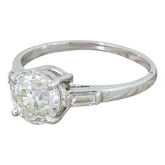 Art Deco 2.23 Carat Old European Cut Diamond Engagement Ring