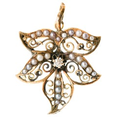 Vintage Floral Diamond, Pearl and Gold Filigree Brooch Pendant