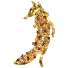 Peter Linderman Large Yellow Gold and Gem Set Fox Brooch