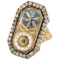 1830s French Diamond Set Key Wind Ring Watch