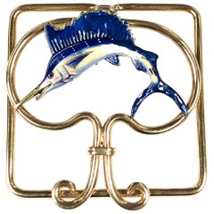 Cartier Gold and Enamel Sail Fish Money Clip